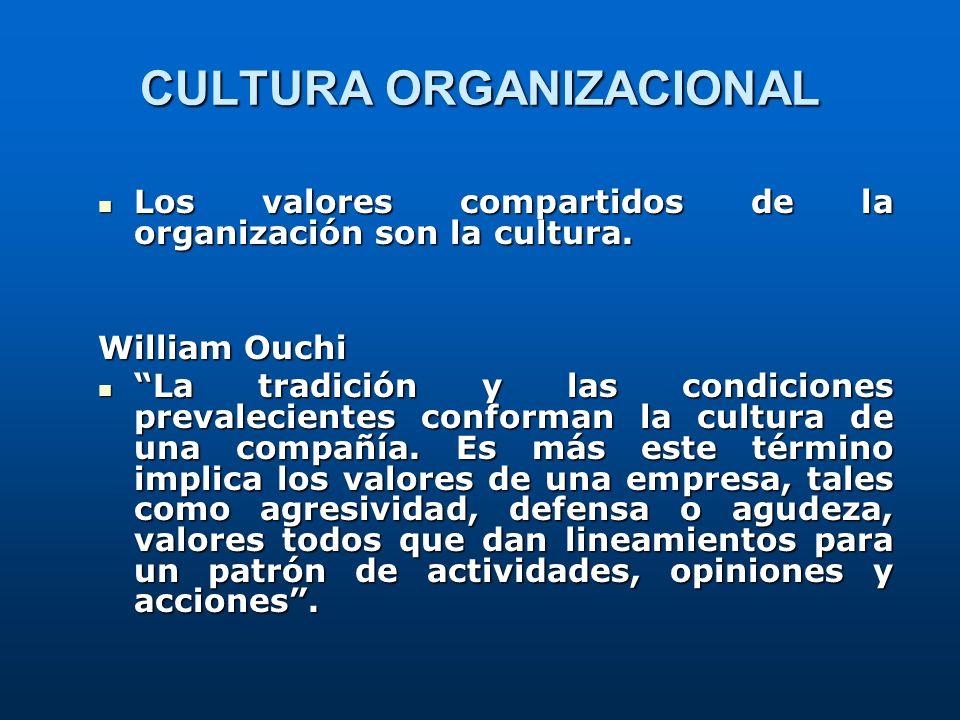 Los valores compartidos de la organización son la cultura. Los valores compartidos de la organización son la cultura. William Ouchi La tradición y las