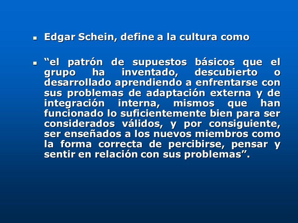 Edgar Schein, define a la cultura como Edgar Schein, define a la cultura como el patrón de supuestos básicos que el grupo ha inventado, descubierto o