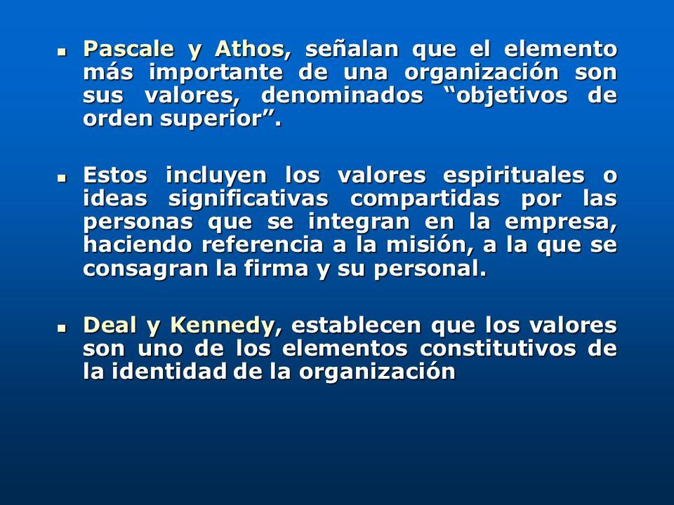 Pascale y Athos, señalan que el elemento más importante de una organización son sus valores, denominados objetivos de orden superior. Pascale y Athos,