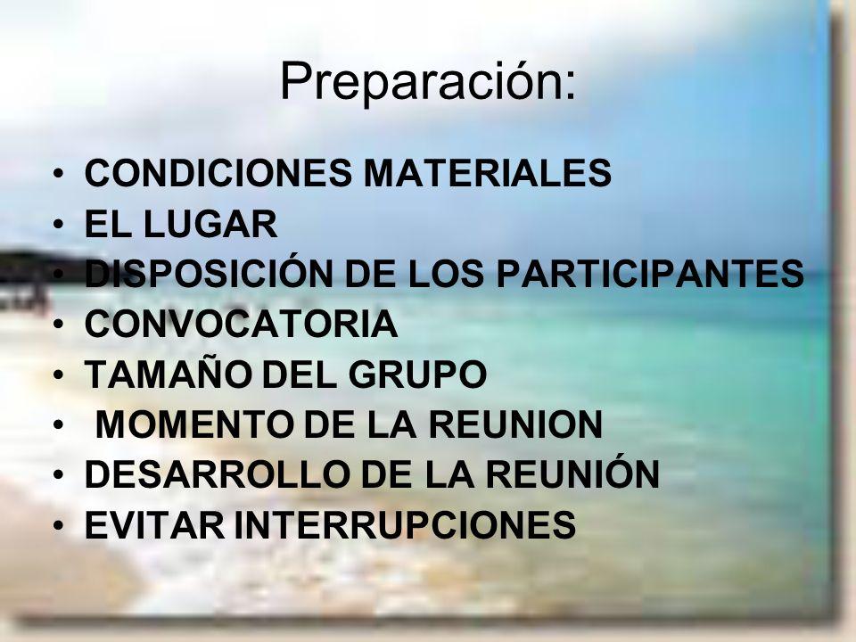 Preparación: CONDICIONES MATERIALES EL LUGAR DISPOSICIÓN DE LOS PARTICIPANTES CONVOCATORIA TAMAÑO DEL GRUPO MOMENTO DE LA REUNION DESARROLLO DE LA REU