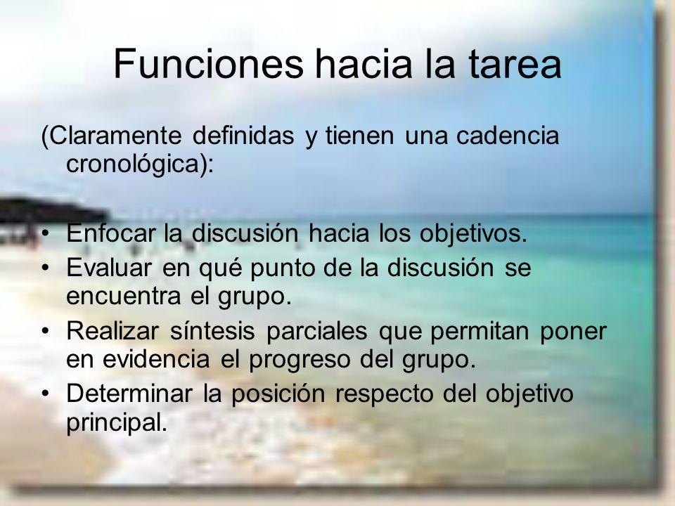 Funciones hacia la tarea (Claramente definidas y tienen una cadencia cronológica): Enfocar la discusión hacia los objetivos. Evaluar en qué punto de l