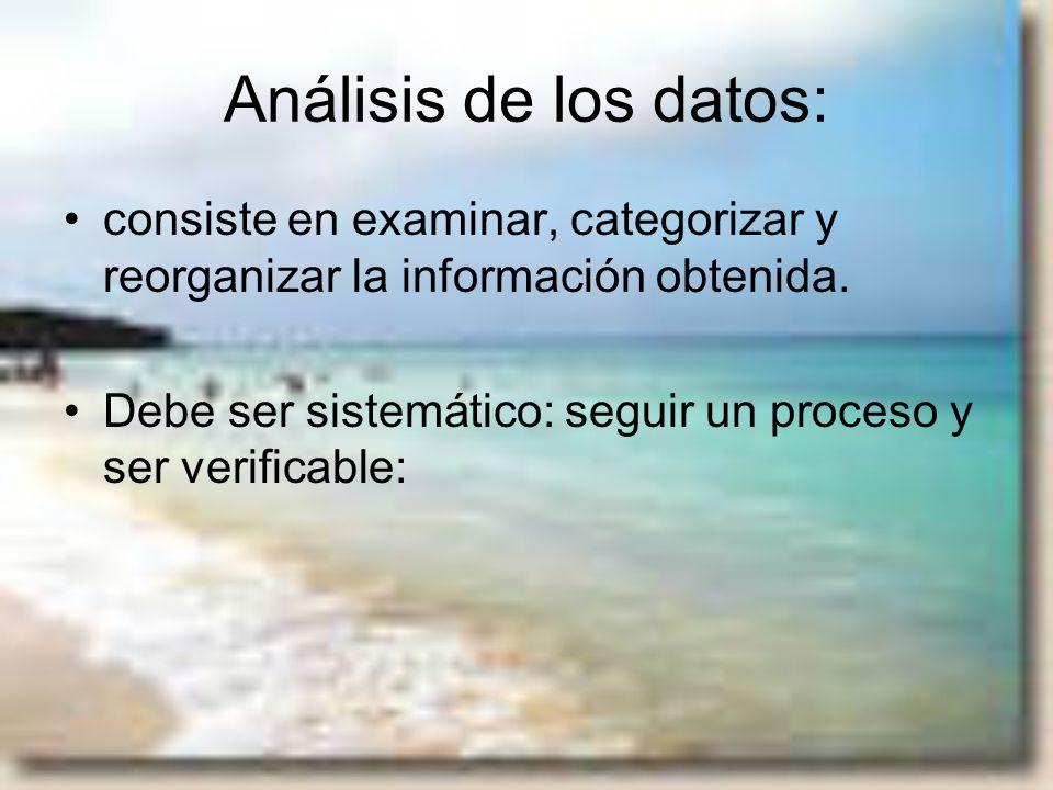 Análisis de los datos: consiste en examinar, categorizar y reorganizar la información obtenida. Debe ser sistemático: seguir un proceso y ser verifica