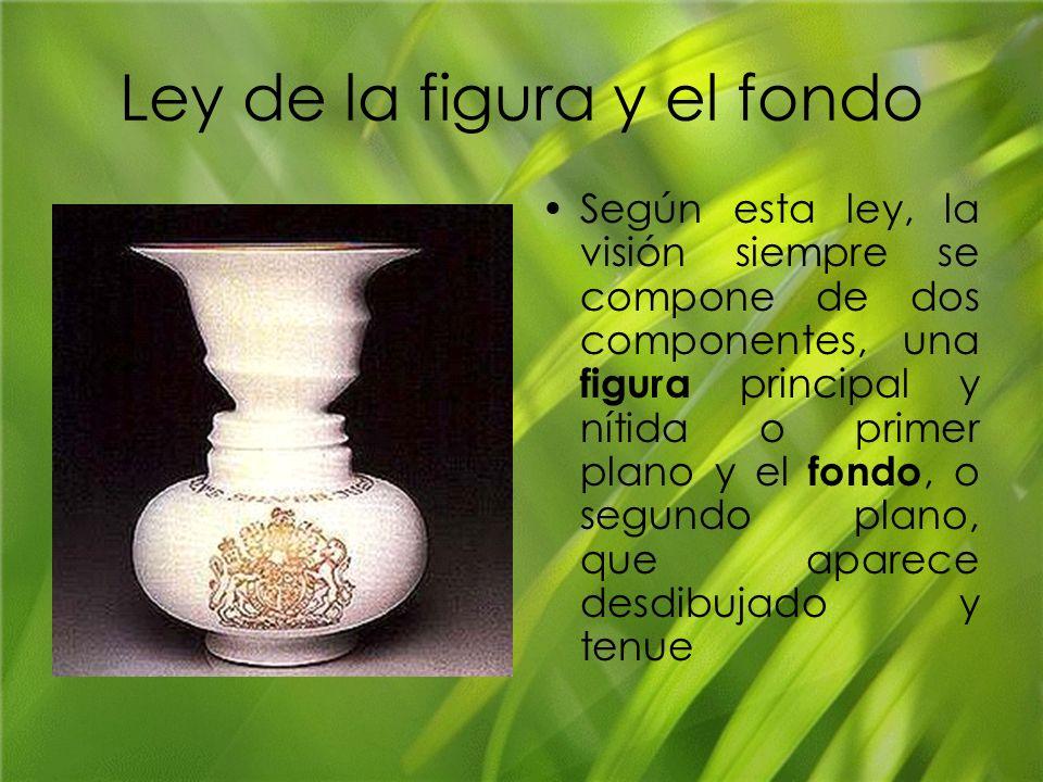 Ley de la figura y el fondo Según esta ley, la visión siempre se compone de dos componentes, una figura principal y nítida o primer plano y el fondo,