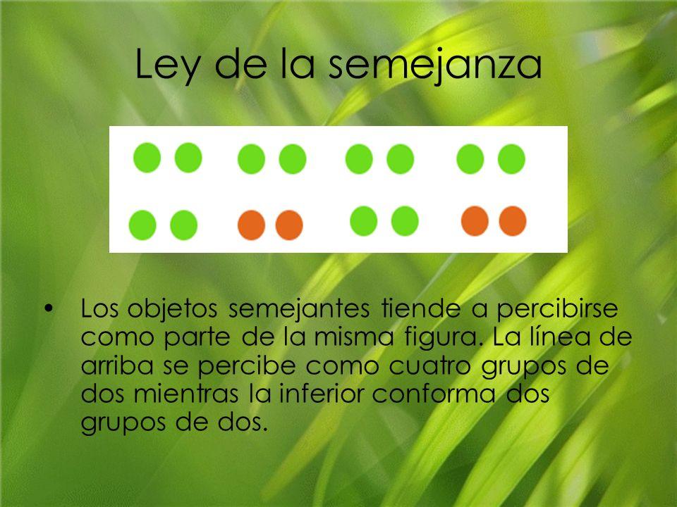 Ley de la semejanza Los objetos semejantes tiende a percibirse como parte de la misma figura. La línea de arriba se percibe como cuatro grupos de dos