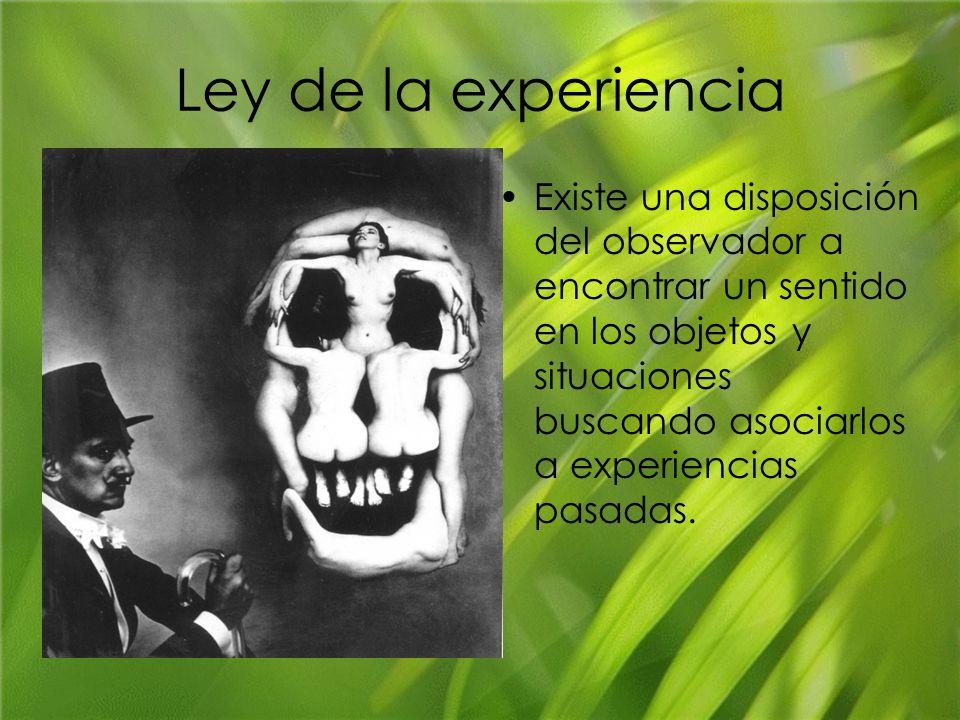 Ley de la experiencia Existe una disposición del observador a encontrar un sentido en los objetos y situaciones buscando asociarlos a experiencias pas