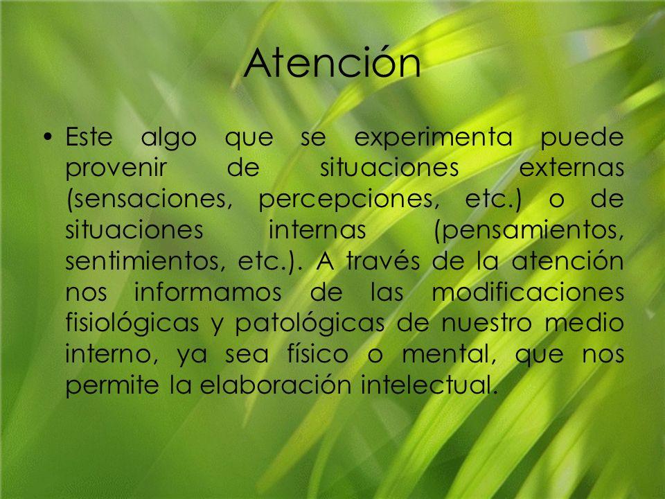 Atención Este algo que se experimenta puede provenir de situaciones externas (sensaciones, percepciones, etc.) o de situaciones internas (pensamientos