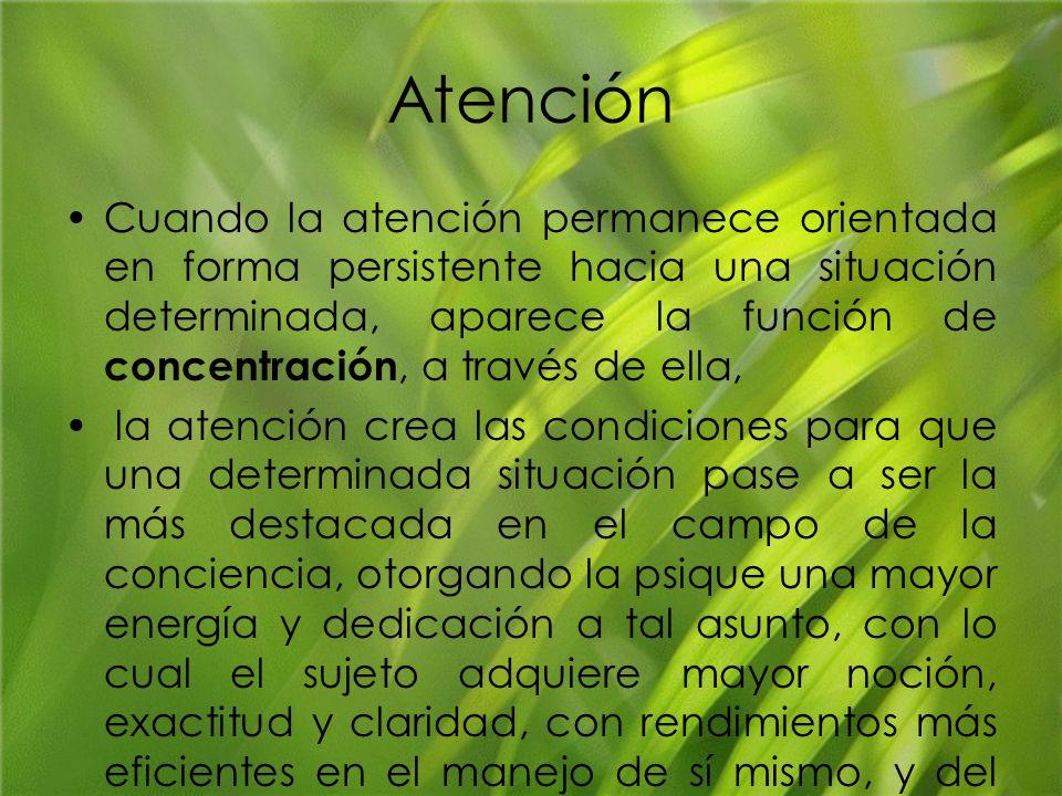 Atención Cuando la atención permanece orientada en forma persistente hacia una situación determinada, aparece la función de concentración, a través de
