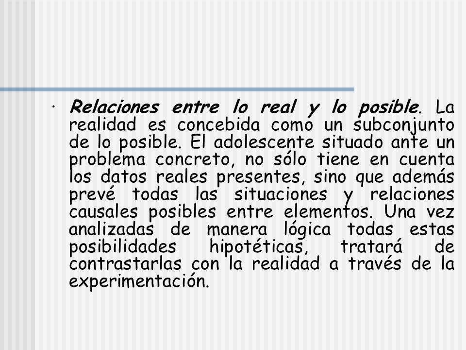 · Relaciones entre lo real y lo posible. La realidad es concebida como un subconjunto de lo posible. El adolescente situado ante un problema concreto,
