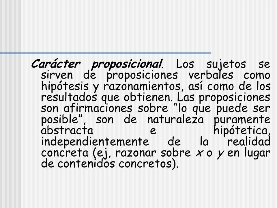 Carácter proposicional. Los sujetos se sirven de proposiciones verbales como hipótesis y razonamientos, así como de los resultados que obtienen. Las p