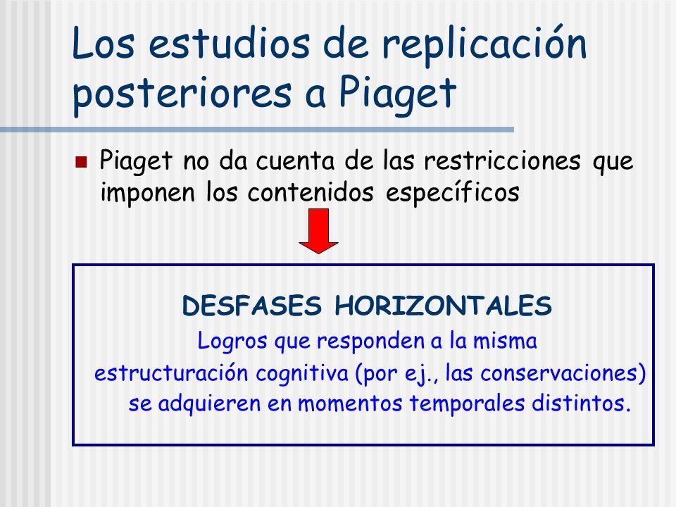 Los estudios de replicación posteriores a Piaget Piaget no da cuenta de las restricciones que imponen los contenidos específicos DESFASES HORIZONTALES