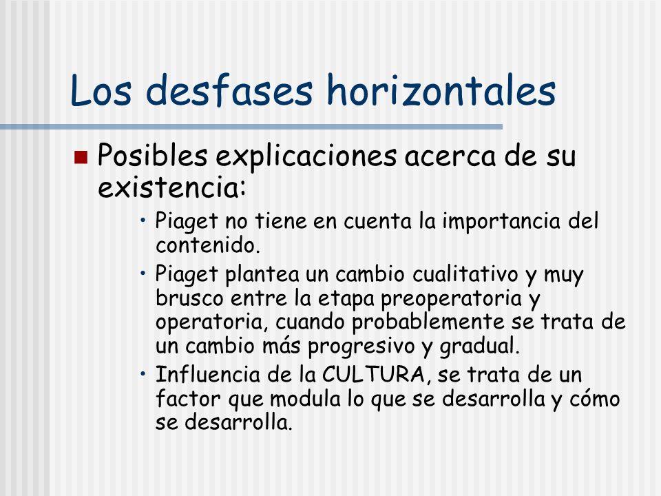 Los desfases horizontales Posibles explicaciones acerca de su existencia: Piaget no tiene en cuenta la importancia del contenido. Piaget plantea un ca