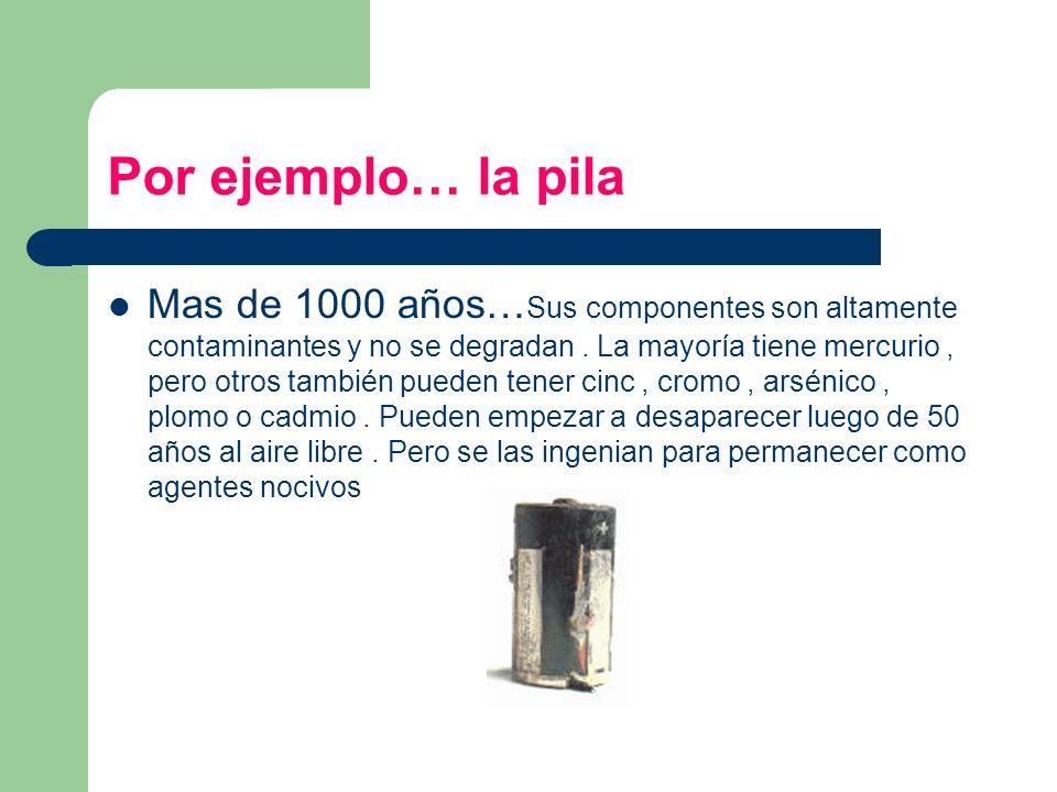 Por ejemplo… la pila Mas de 1000 años… Sus componentes son altamente contaminantes y no se degradan. La mayoría tiene mercurio, pero otros también pue