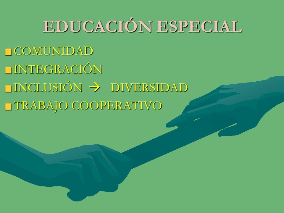 EDUCACIÓN ESPECIAL COMUNIDADINTEGRACIÓN INCLUSIÓN DIVERSIDAD TRABAJO COOPERATIVO