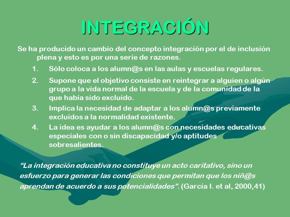 INTEGRACIÓN Se ha producido un cambio del concepto integración por el de inclusión plena y esto es por una serie de razones. 1. 1.Sólo coloca a los al