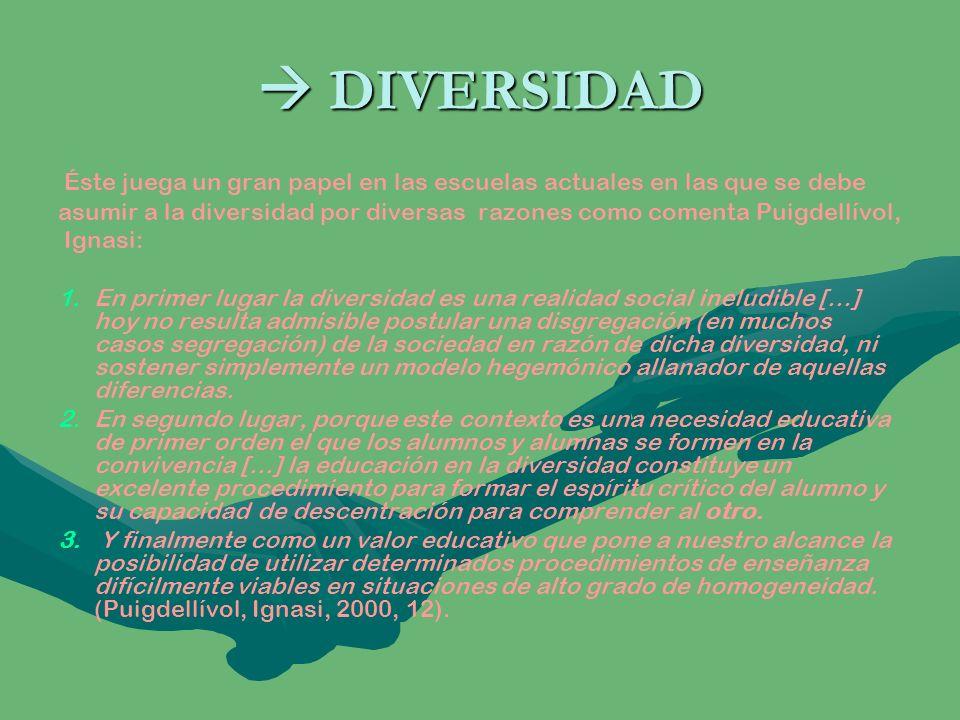 DIVERSIDAD DIVERSIDAD Éste juega un gran papel en las escuelas actuales en las que se debe asumir a la diversidad por diversas razones como comenta Pu