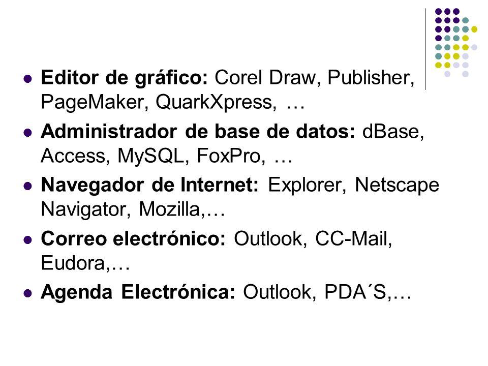 Editor de gráfico: Corel Draw, Publisher, PageMaker, QuarkXpress, … Administrador de base de datos: dBase, Access, MySQL, FoxPro, … Navegador de Inter