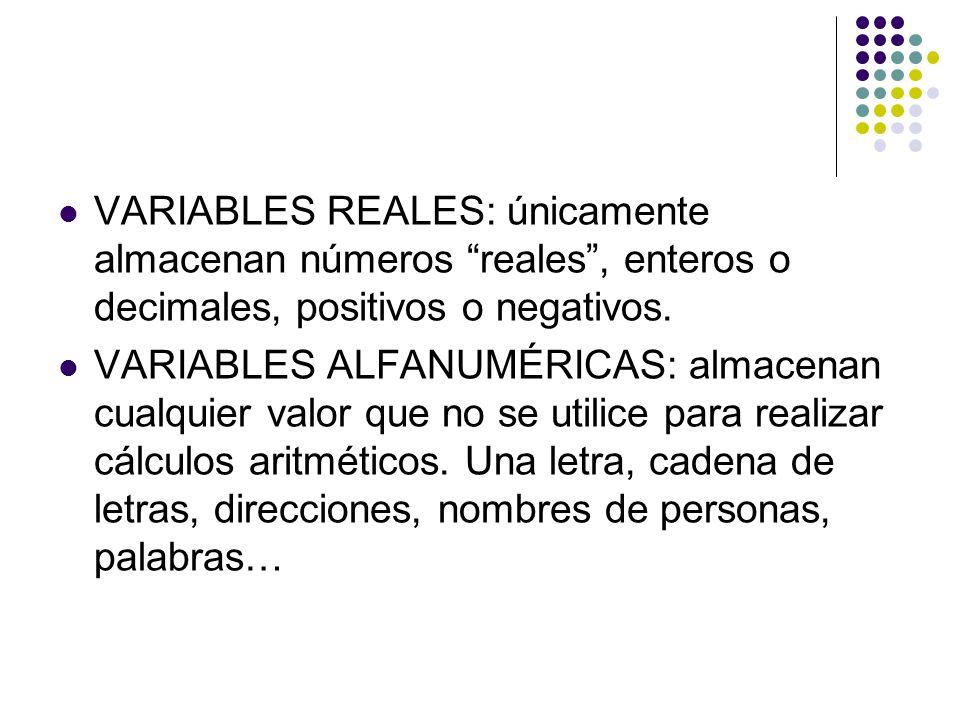 VARIABLES REALES: únicamente almacenan números reales, enteros o decimales, positivos o negativos. VARIABLES ALFANUMÉRICAS: almacenan cualquier valor