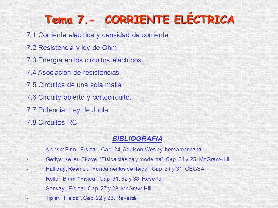 7.1 Corriente eléctrica y densidad de corriente. 7.2 Resistencia y ley de Ohm. 7.3 Energía en los circuitos eléctricos. 7.4 Asociación de resistencias