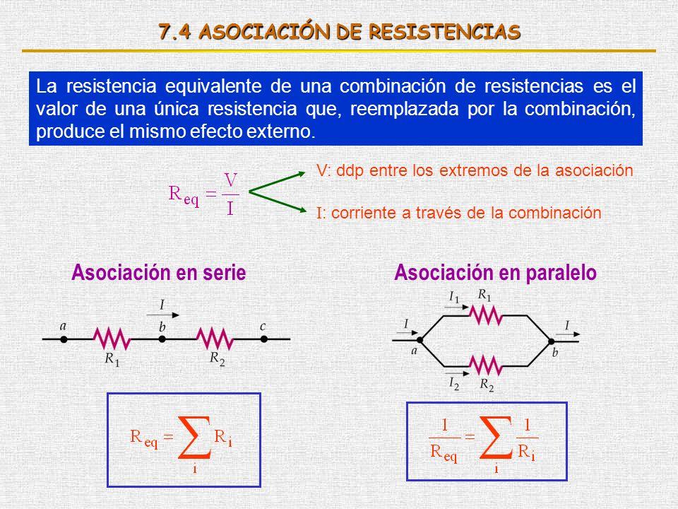 7.4 ASOCIACIÓN DE RESISTENCIAS La resistencia equivalente de una combinación de resistencias es el valor de una única resistencia que, reemplazada por