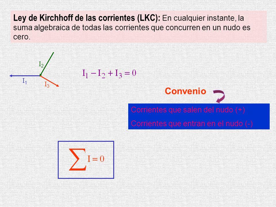 Ley de Kirchhoff de las corrientes (LKC): En cualquier instante, la suma algebraica de todas las corrientes que concurren en un nudo es cero. I1I1 I3I