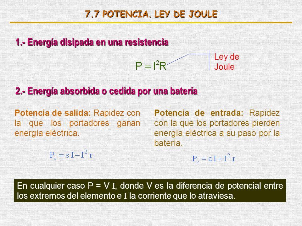 7.7 POTENCIA. LEY DE JOULE 1.- Energía disipada en una resistencia Ley de Joule 2.- Energía absorbida o cedida por una batería Potencia de salida: Rap