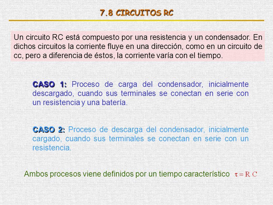 7.8 CIRCUITOS RC Un circuito RC está compuesto por una resistencia y un condensador. En dichos circuitos la corriente fluye en una dirección, como en