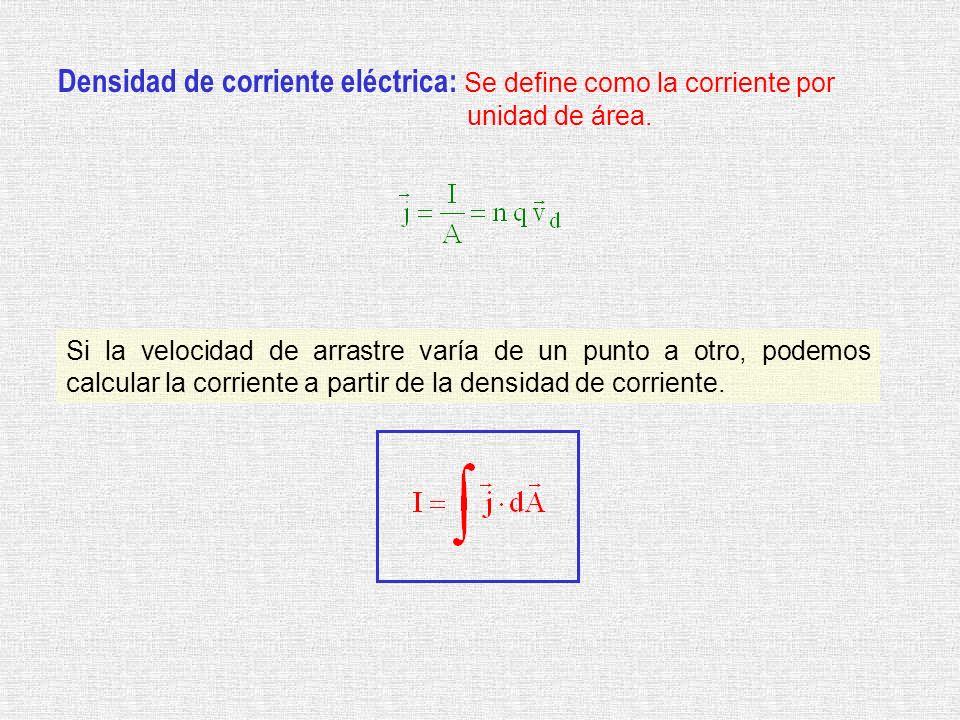 Densidad de corriente eléctrica: Se define como la corriente por unidad de área. Si la velocidad de arrastre varía de un punto a otro, podemos calcula