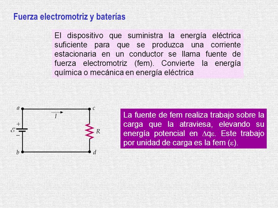 Fuerza electromotriz y baterías El dispositivo que suministra la energía eléctrica suficiente para que se produzca una corriente estacionaria en un co