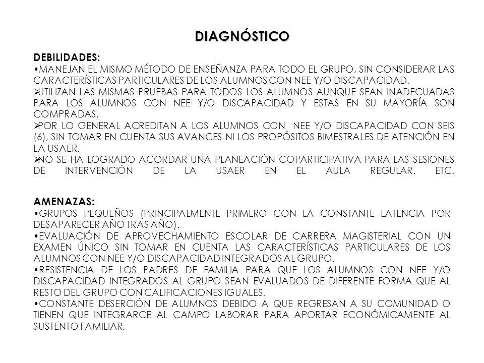 DIAGNÓSTICO DEBILIDADES: MANEJAN EL MISMO MÉTODO DE ENSEÑANZA PARA TODO EL GRUPO, SIN CONSIDERAR LAS CARACTERÍSTICAS PARTICULARES DE LOS ALUMNOS CON N