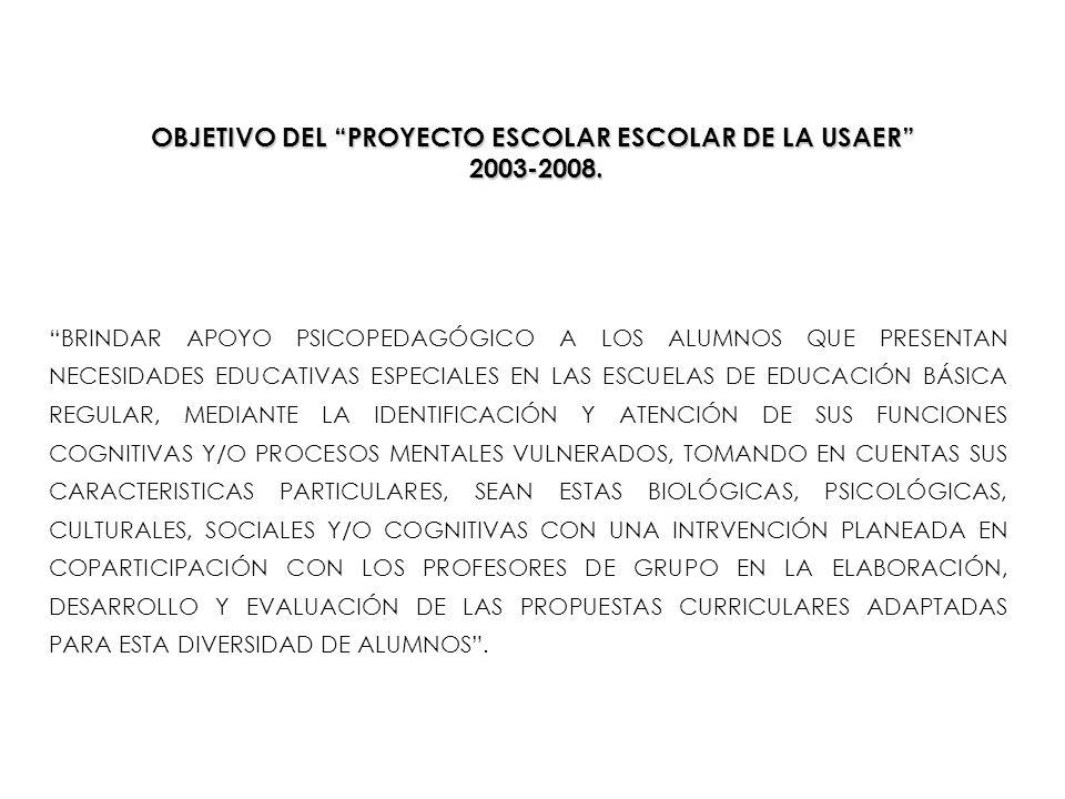 OBJETIVO DEL PROYECTO ESCOLAR ESCOLAR DE LA USAER 2003-2008. BRINDAR APOYO PSICOPEDAGÓGICO A LOS ALUMNOS QUE PRESENTAN NECESIDADES EDUCATIVAS ESPECIAL