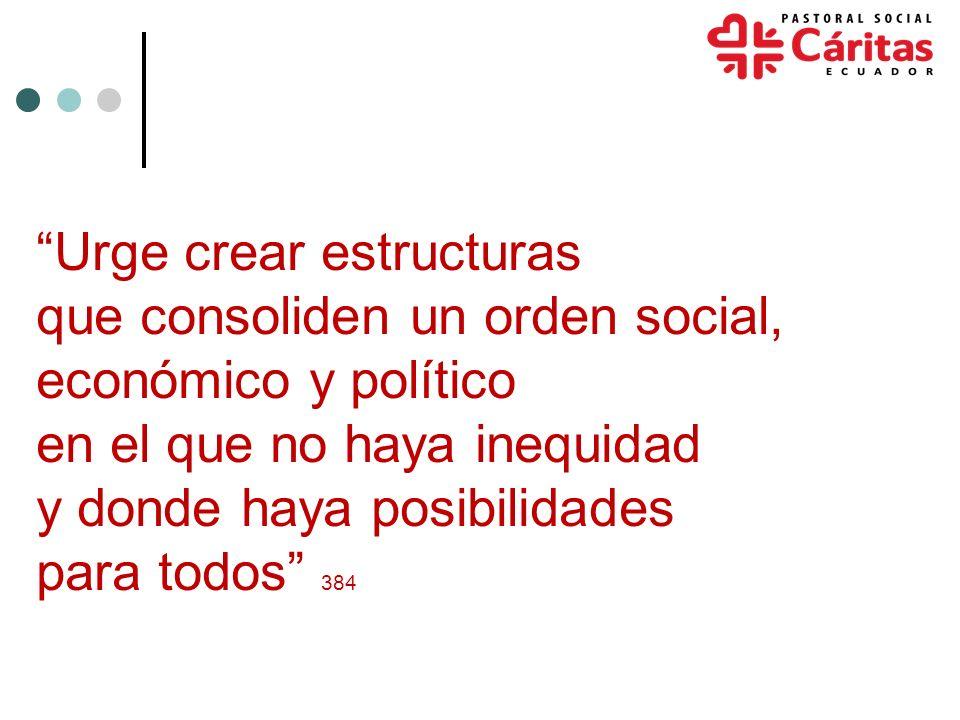 Urge crear estructuras que consoliden un orden social, económico y político en el que no haya inequidad y donde haya posibilidades para todos 384
