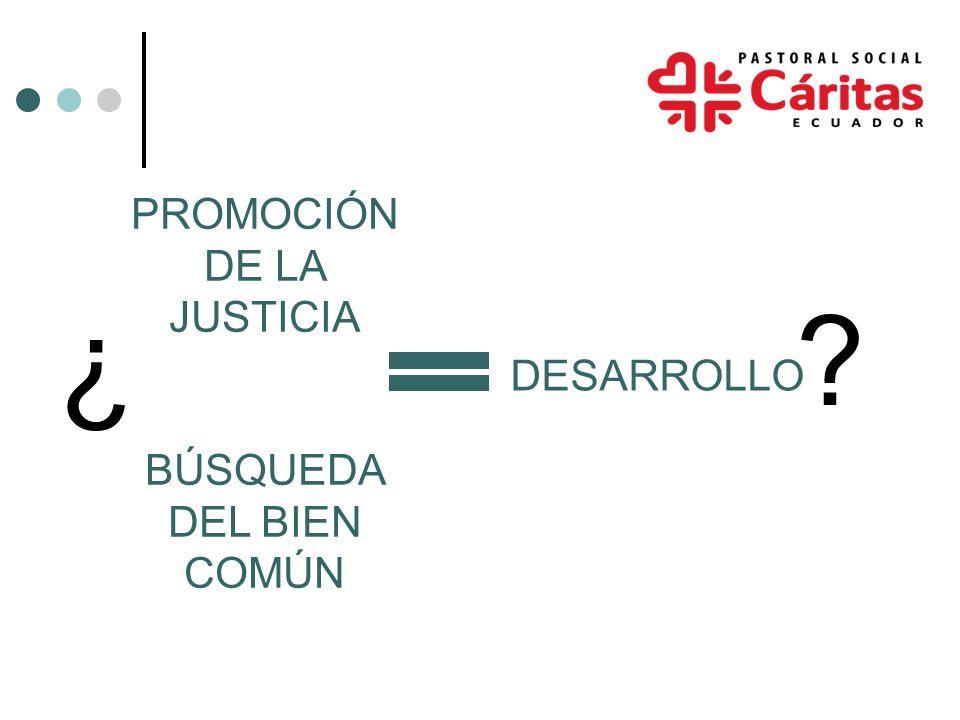 ¿ ? PROMOCIÓN DE LA JUSTICIA BÚSQUEDA DEL BIEN COMÚN DESARROLLO