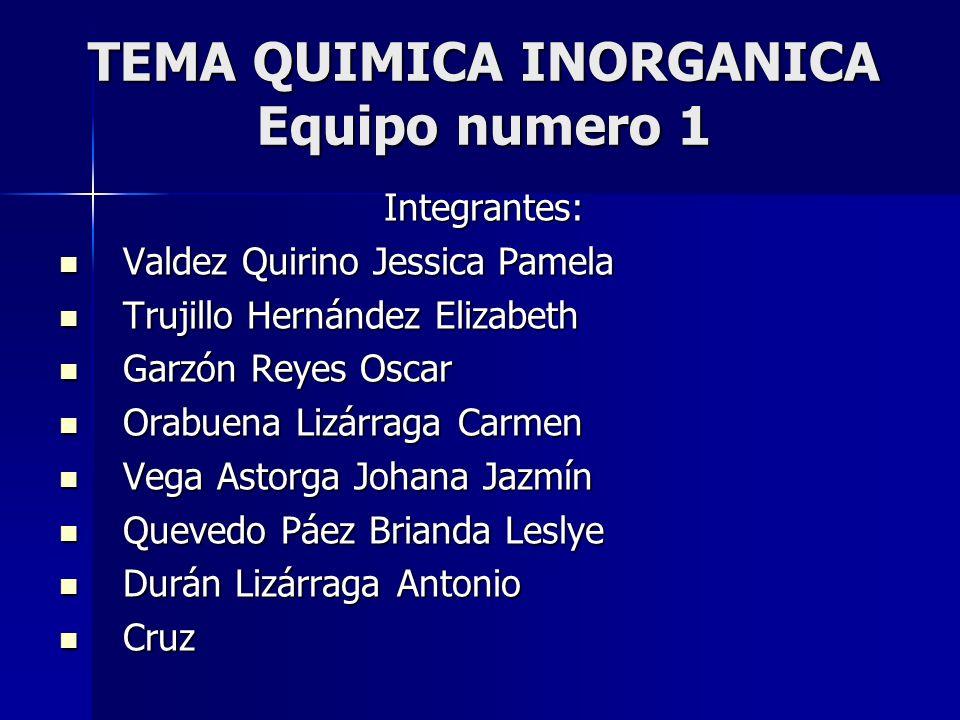 TEMA QUIMICA INORGANICA Equipo numero 1 Integrantes: Valdez Quirino Jessica Pamela Valdez Quirino Jessica Pamela Trujillo Hernández Elizabeth Trujillo