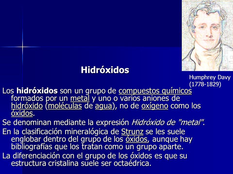 Hidróxidos Los hidróxidos son un grupo de compuestos químicos formados por un metal y uno o varios aniones de hidróxido (moléculas de agua), no de oxí