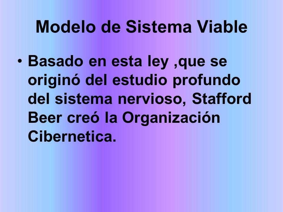 Modelo de Sistema Viable Es el responsable del futuro de la organización, representa el último sistema del modelo y su función se materializa con el cierre del sistema estableciendo un el equilibrio entre los restantes.