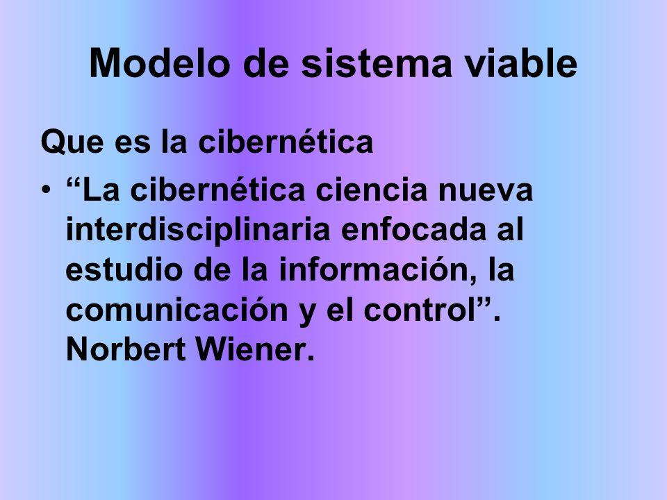 Modelo de Sistema Viable El principio de recursividad o teoría de orden jerárquico establece: Que todo sistema contienen y esta contenido en otro sistema Es por ello, que un sistema, para que sea viable, no solo debe tener las cincos unidades descrita anteriormente, sino el sistema del cual es subsistema debe serlo también Recursividad