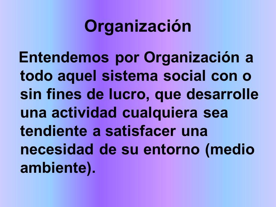Organización Entendemos por Organización a todo aquel sistema social con o sin fines de lucro, que desarrolle una actividad cualquiera sea tendiente a satisfacer una necesidad de su entorno (medio ambiente).