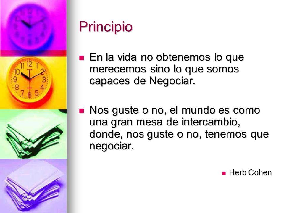 Principio En la vida no obtenemos lo que merecemos sino lo que somos capaces de Negociar. En la vida no obtenemos lo que merecemos sino lo que somos c