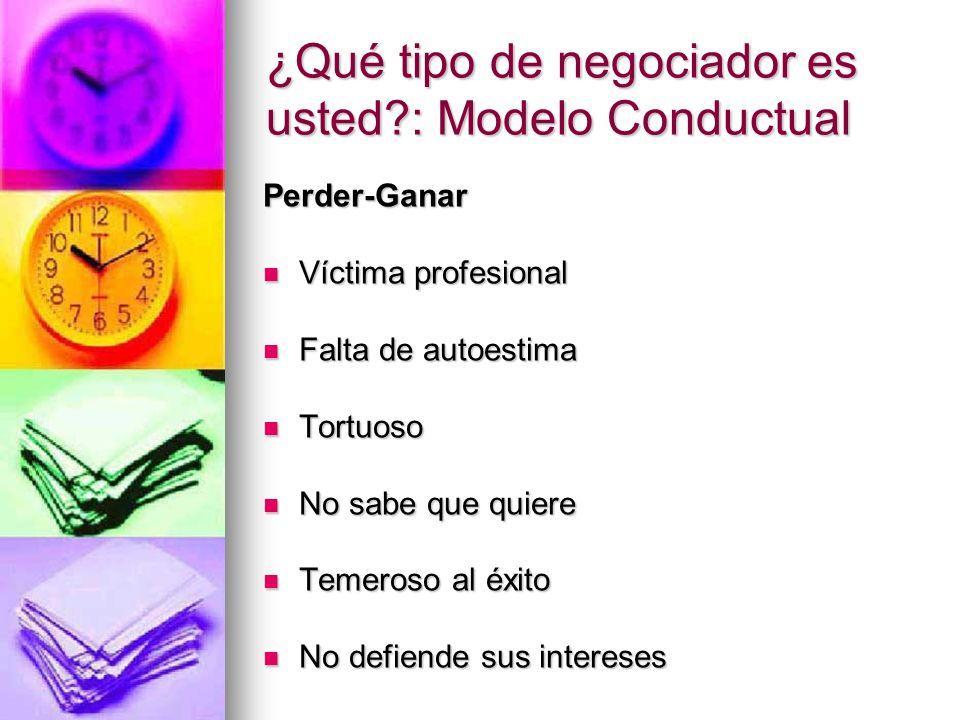 ¿Qué tipo de negociador es usted?: Modelo Conductual Perder-Ganar Víctima profesional Víctima profesional Falta de autoestima Falta de autoestima Tort