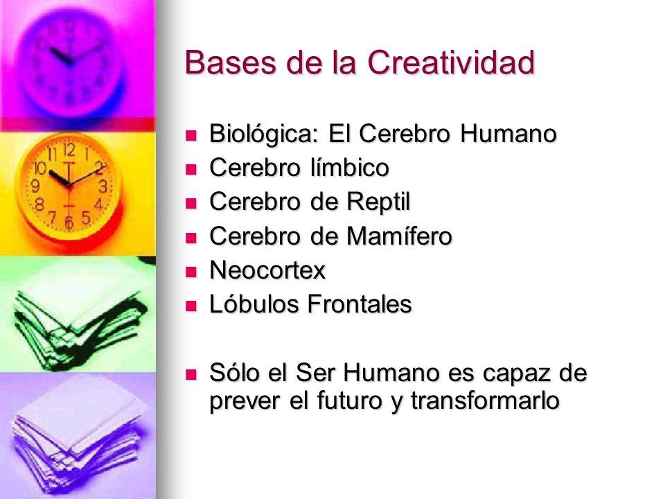 Bases de la Creatividad Biológica: El Cerebro Humano Biológica: El Cerebro Humano Cerebro límbico Cerebro límbico Cerebro de Reptil Cerebro de Reptil