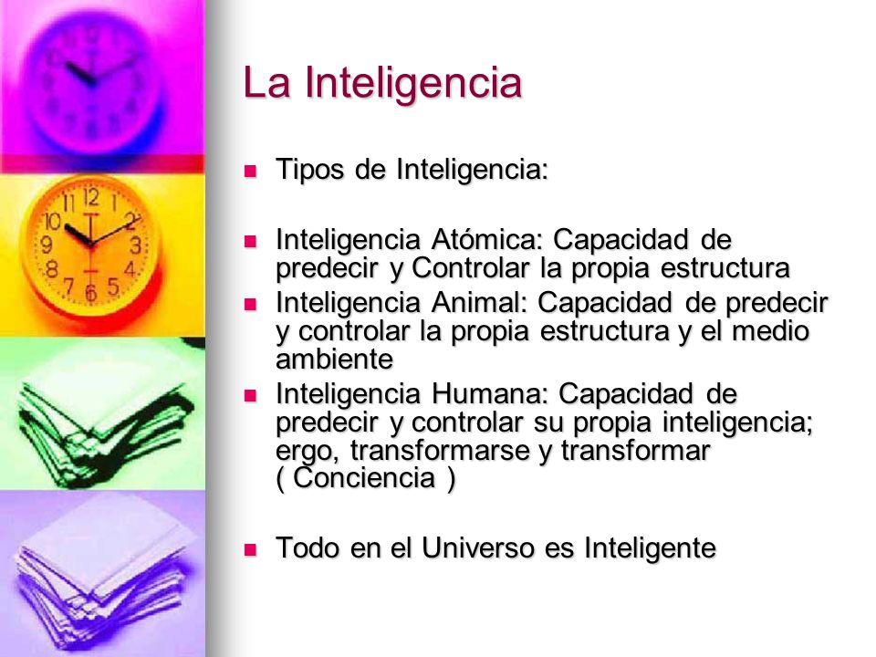 La Inteligencia Tipos de Inteligencia: Tipos de Inteligencia: Inteligencia Atómica: Capacidad de predecir y Controlar la propia estructura Inteligenci