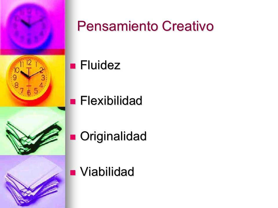 Pensamiento Creativo Fluidez Fluidez Flexibilidad Flexibilidad Originalidad Originalidad Viabilidad Viabilidad