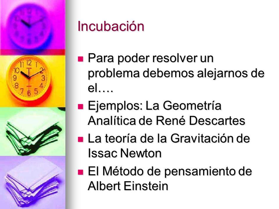 Incubación Para poder resolver un problema debemos alejarnos de el…. Para poder resolver un problema debemos alejarnos de el…. Ejemplos: La Geometría
