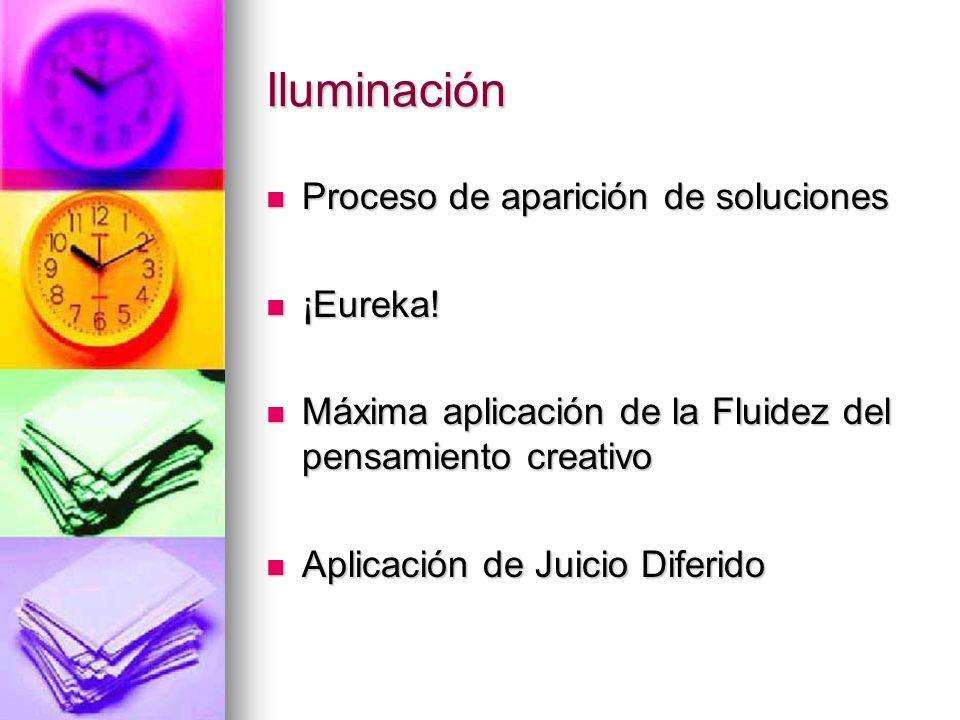 Iluminación Proceso de aparición de soluciones Proceso de aparición de soluciones ¡Eureka! ¡Eureka! Máxima aplicación de la Fluidez del pensamiento cr