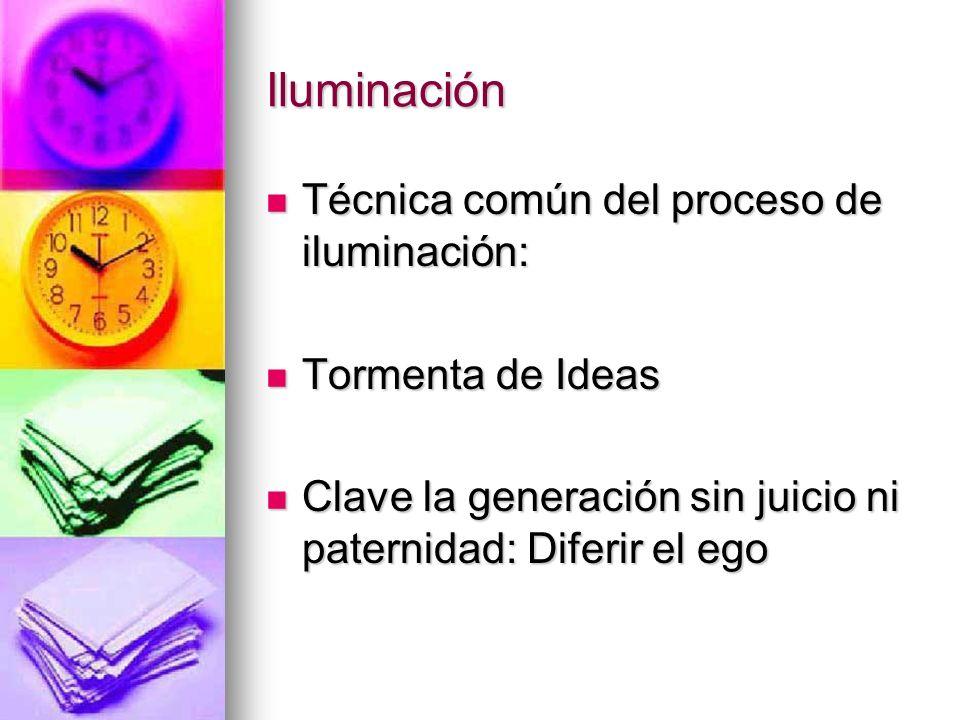 Iluminación Técnica común del proceso de iluminación: Técnica común del proceso de iluminación: Tormenta de Ideas Tormenta de Ideas Clave la generació