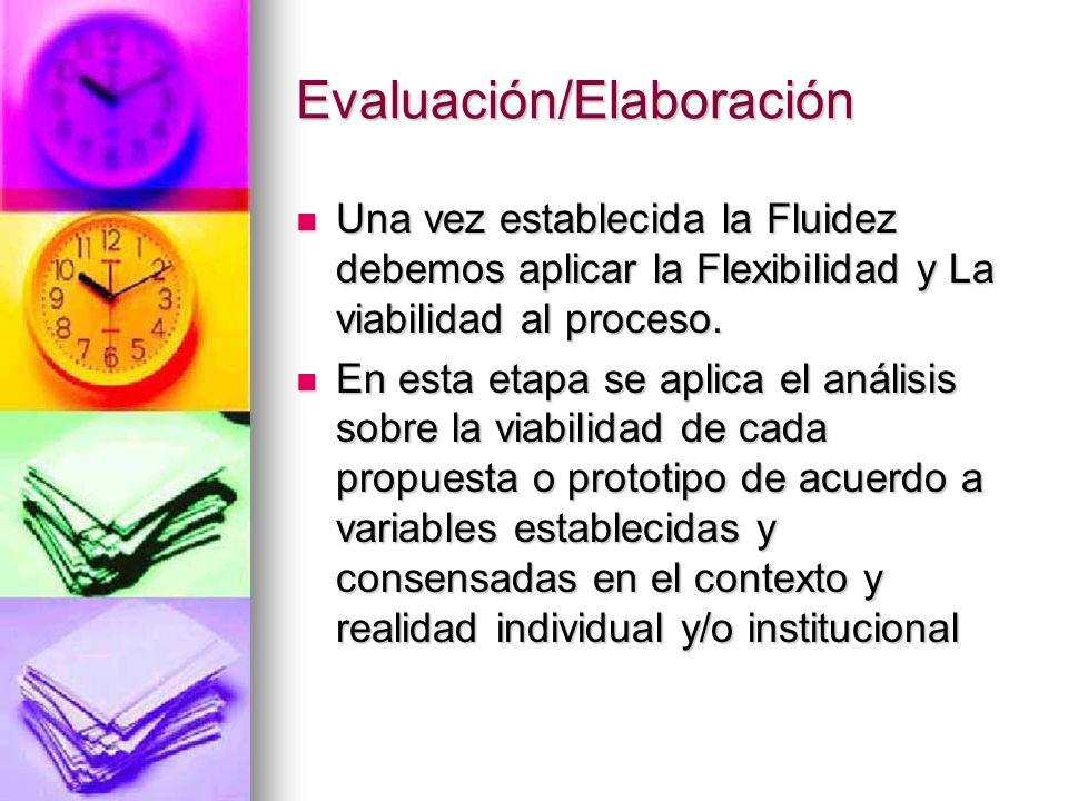 Evaluación/Elaboración Una vez establecida la Fluidez debemos aplicar la Flexibilidad y La viabilidad al proceso. Una vez establecida la Fluidez debem