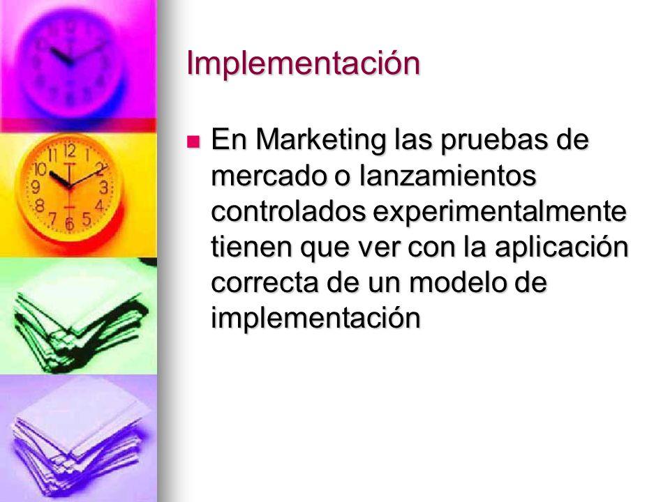Implementación En Marketing las pruebas de mercado o lanzamientos controlados experimentalmente tienen que ver con la aplicación correcta de un modelo