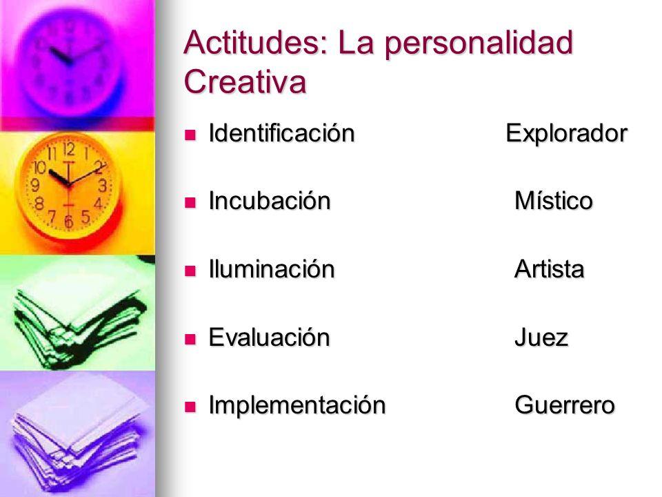 Actitudes: La personalidad Creativa Identificación Explorador Identificación Explorador IncubaciónMístico IncubaciónMístico IluminaciónArtista Ilumina