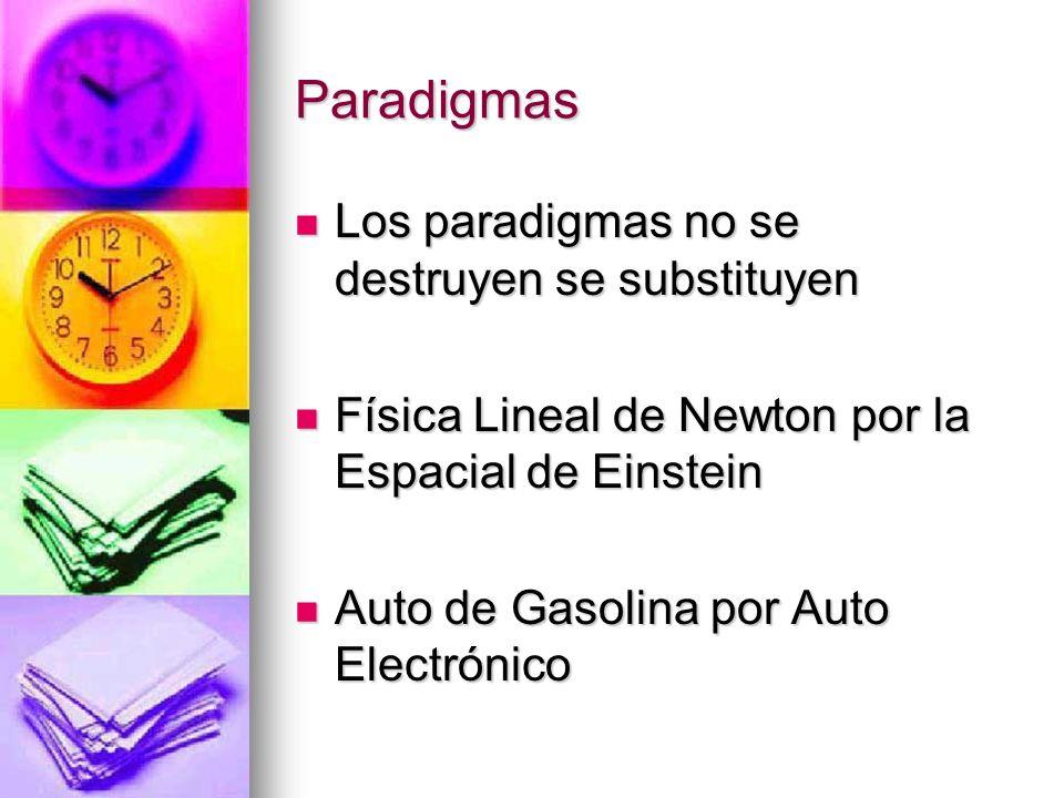 Paradigmas Los paradigmas no se destruyen se substituyen Los paradigmas no se destruyen se substituyen Física Lineal de Newton por la Espacial de Eins