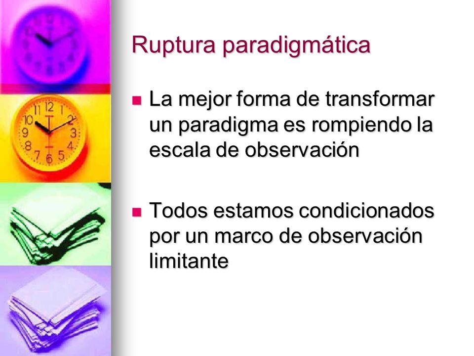 Ruptura paradigmática La mejor forma de transformar un paradigma es rompiendo la escala de observación La mejor forma de transformar un paradigma es r